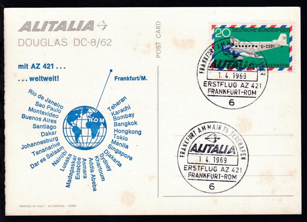 ALLITALIA-Erstflug Frankfurt-Rom 1.4.1969 Sonderstempel auf CAK 0
