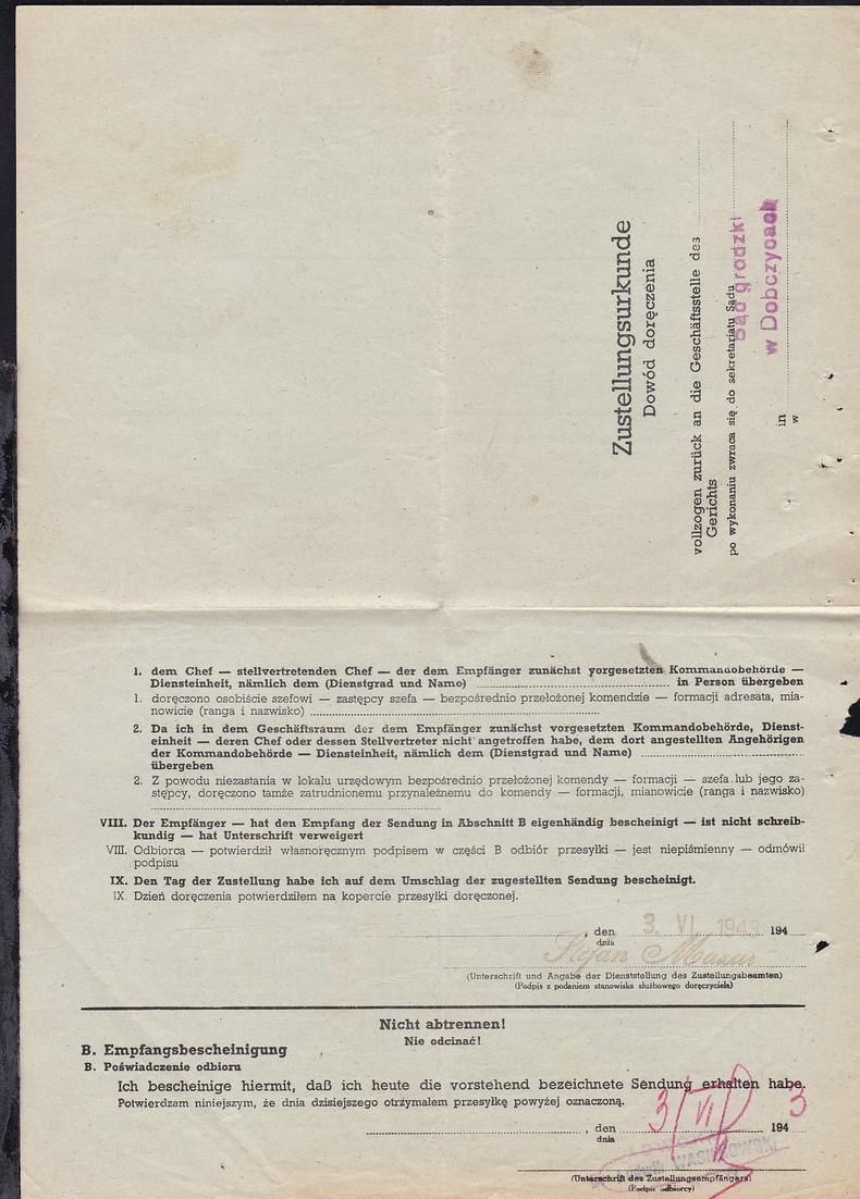 1943 Gerichts-Zustellungsurkunde, gefaltet 1