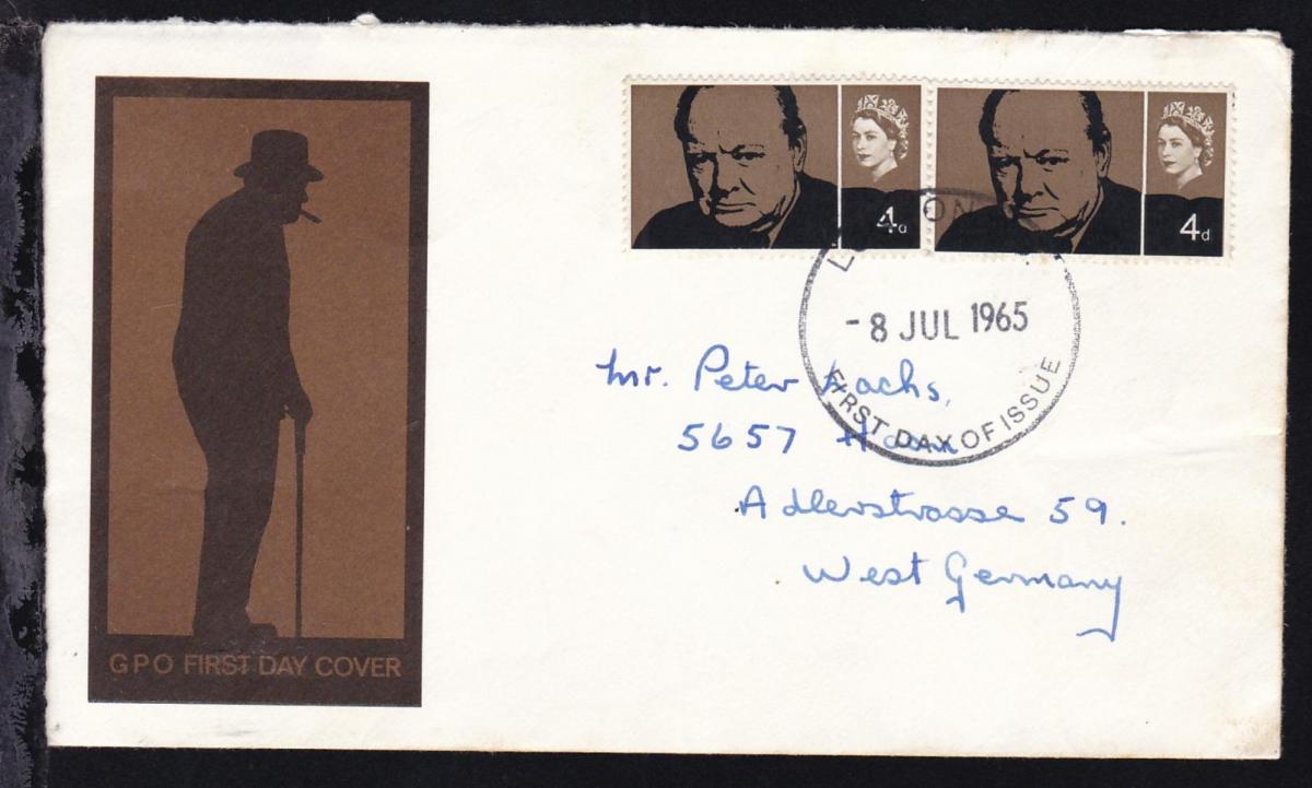 Winston Churchill 4 P. 2x auf FDC nach Haan/Deutschland 0