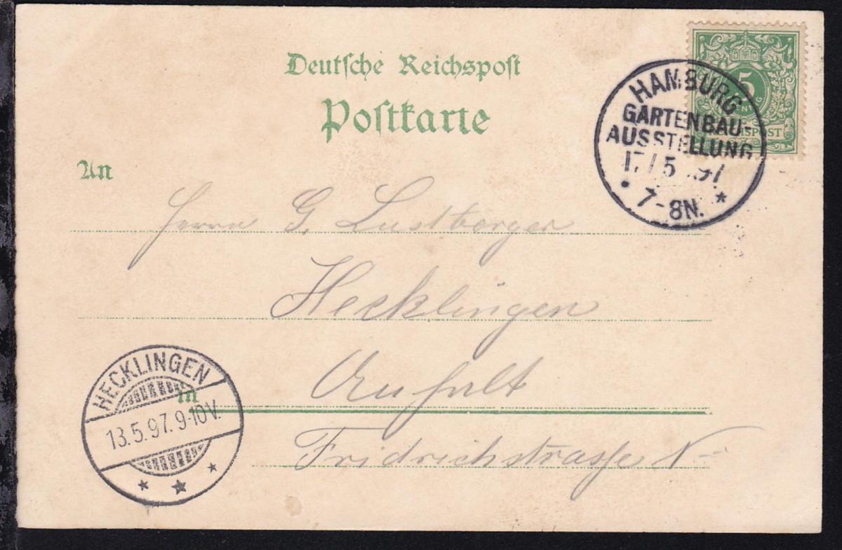 Hamburg K1 HAMBURG GARTENBAU-AUSSTELLUNG 17.5.97 auf Ausstellungs-Postkarte 0