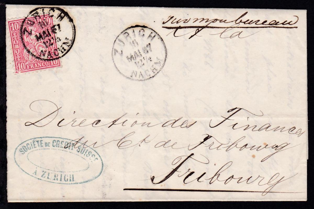 Sitzende Helvetia 10 C, auf Brief der Schweiz. Kreditgesellschaft Zürich ab
