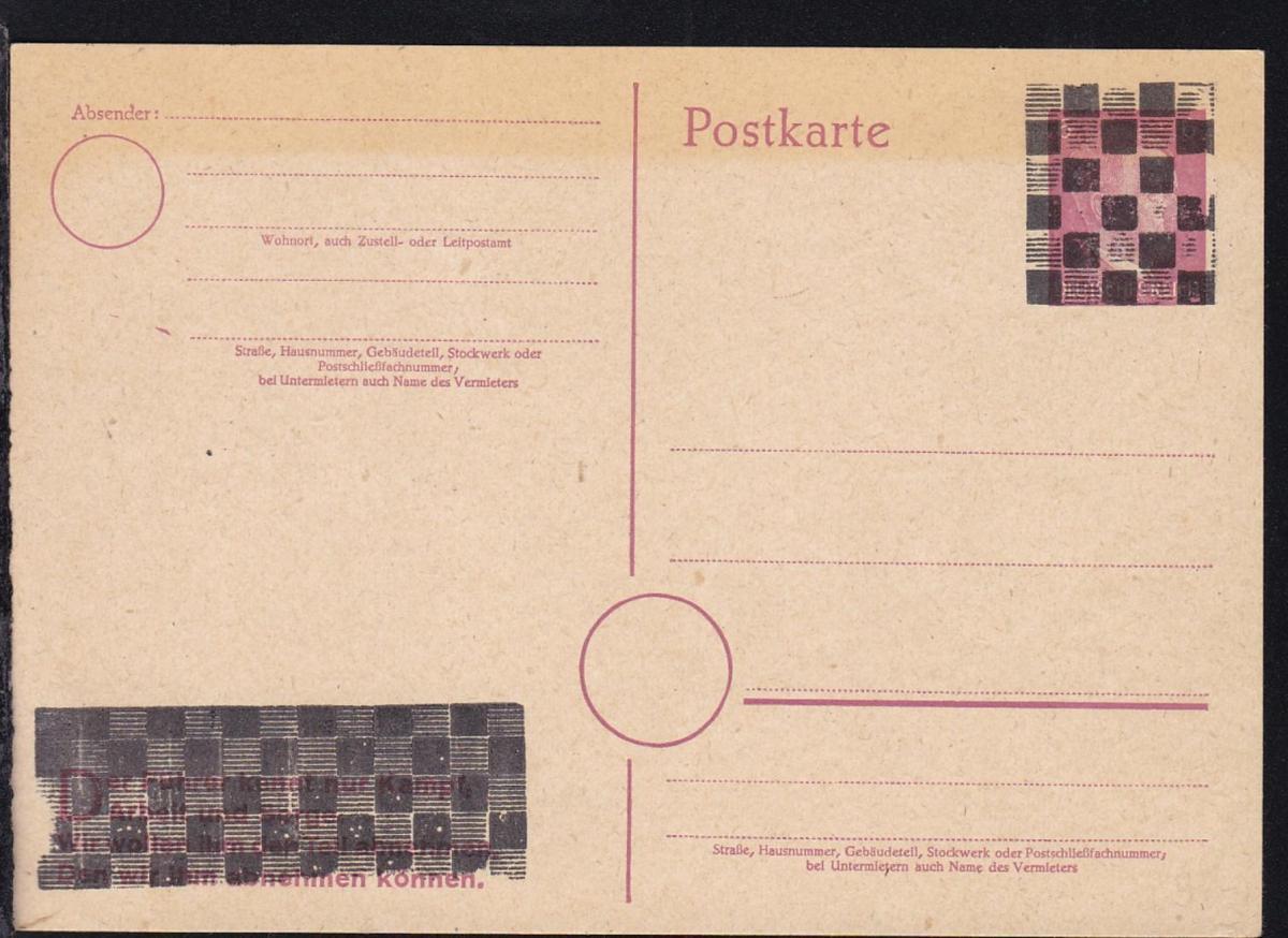 überdruckte Hitler-Ganzsache, wurde als Formblatt verkauft, Karte beschrieben 0