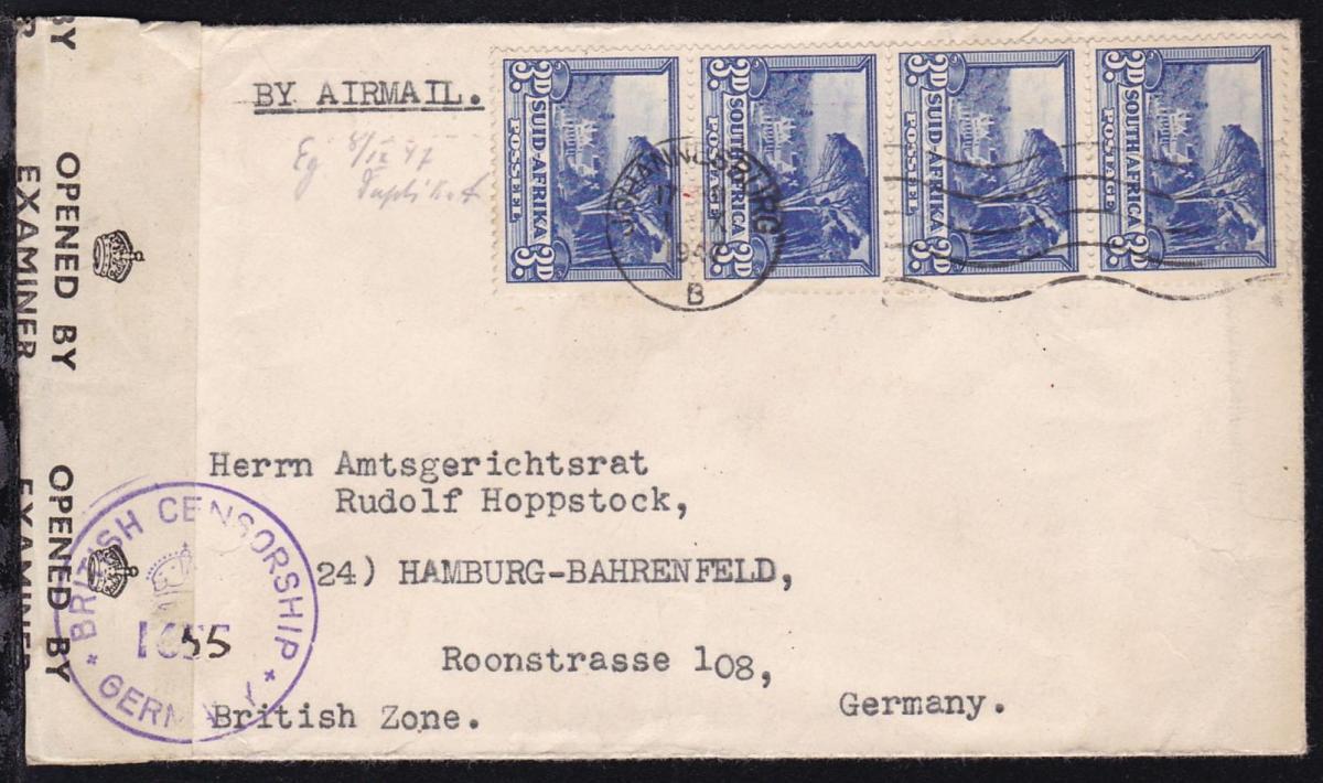 Landesmotive 3 P. (Viererstreifen) auf Luftpostbrief ab Johannesburg 1.IX.1947 0