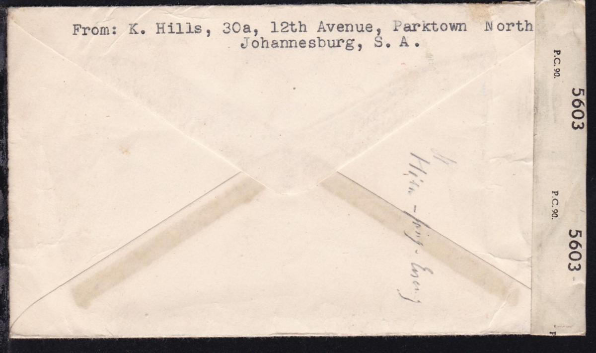 Landesmotive 3 P. (Viererstreifen) auf Luftpostbrief ab Johannesburg 1.IX.1947 1