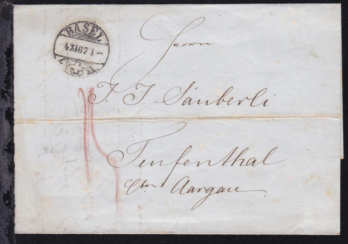 Brief ab Basel 4.XI.67 nach Teufenthal bei Aargau 0