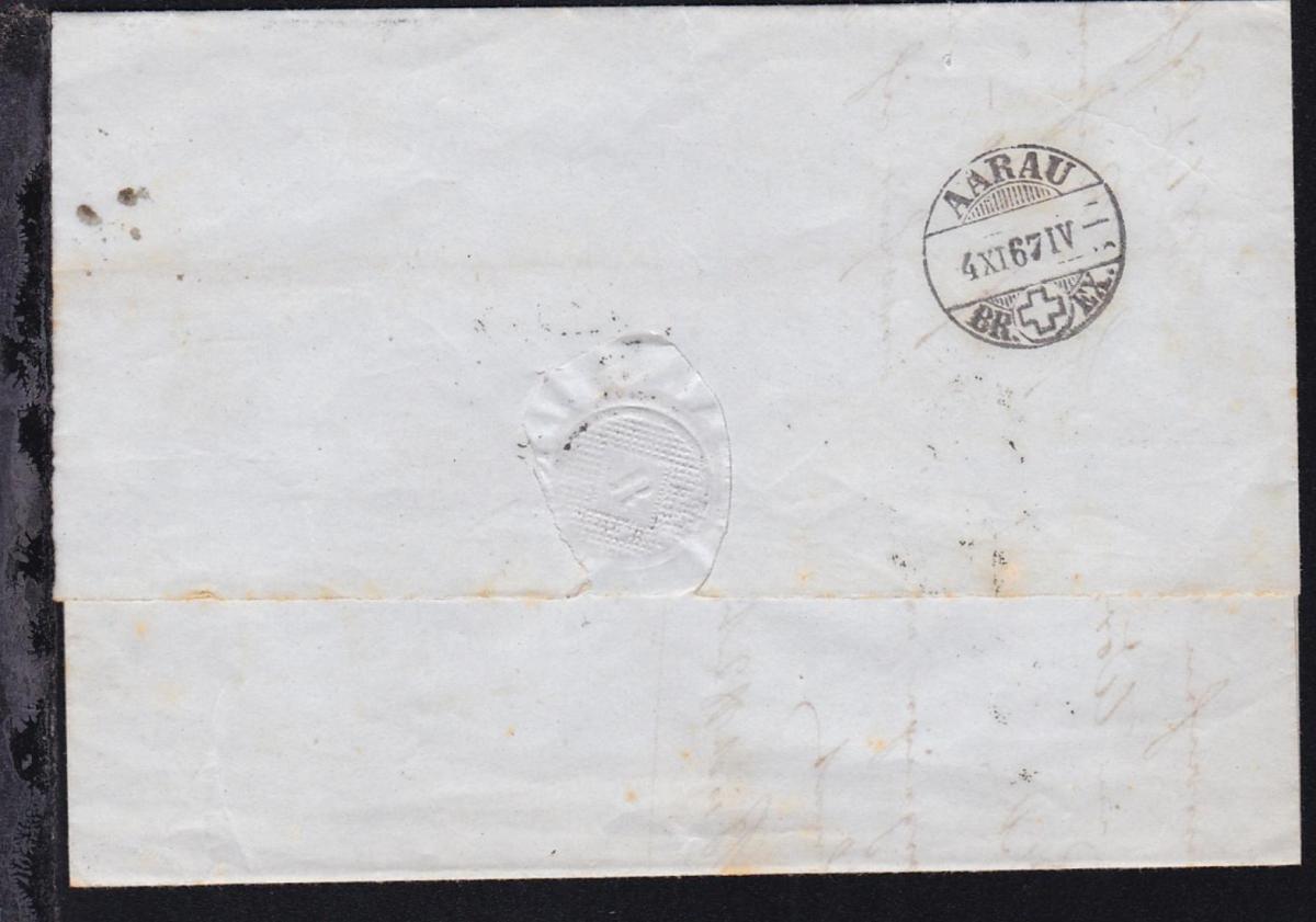 Brief ab Basel 4.XI.67 nach Teufenthal bei Aargau 1