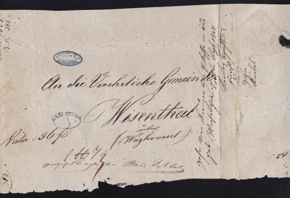 Karlsruhe 1847 Ovalstempel CARLSRUHE auf grossem Briefteil nach Wiesenthal