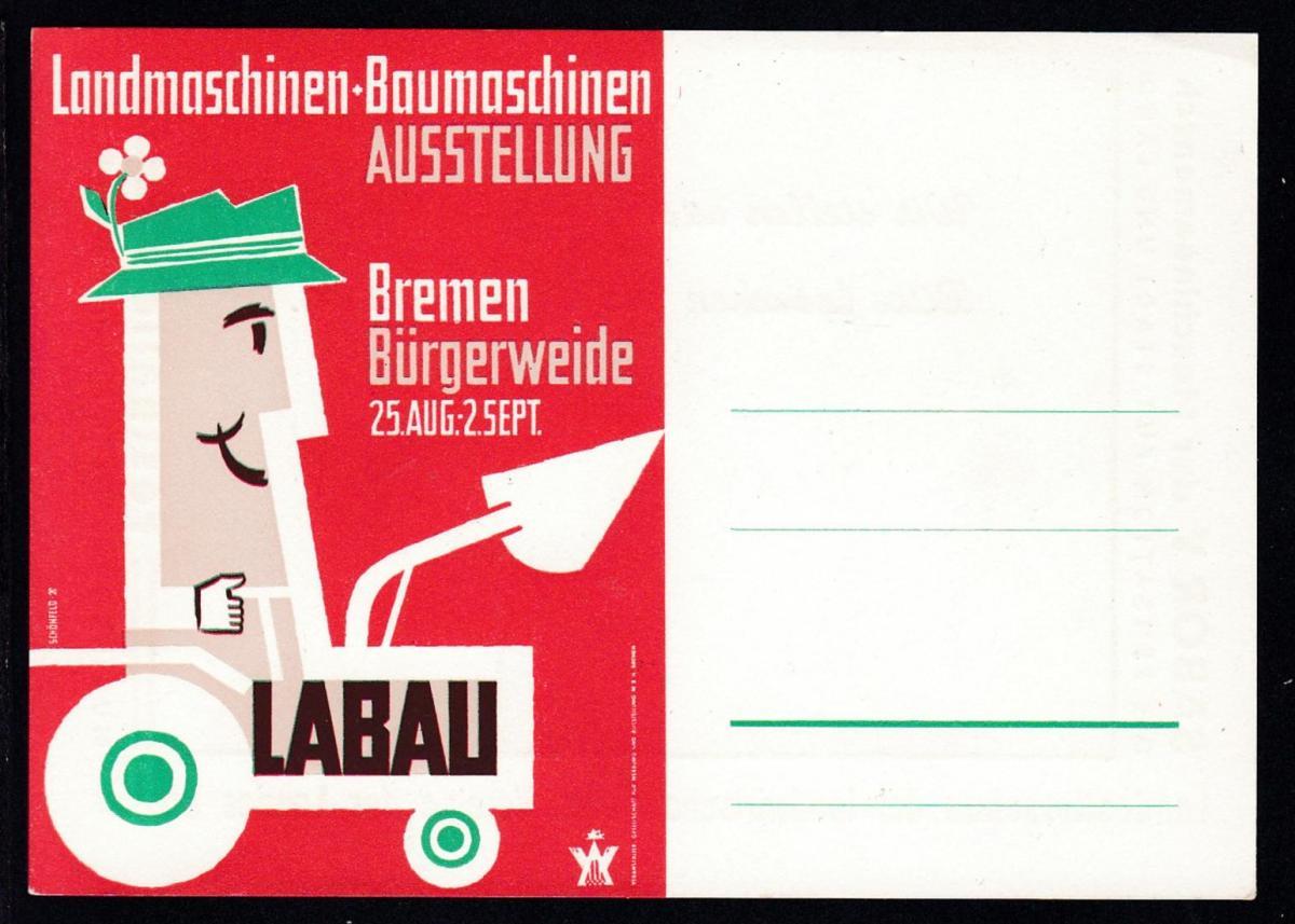 Bremen Postkarte zur Landmaschinen-Baumaschinen-Ausstellung Bremen Bürgerweide,