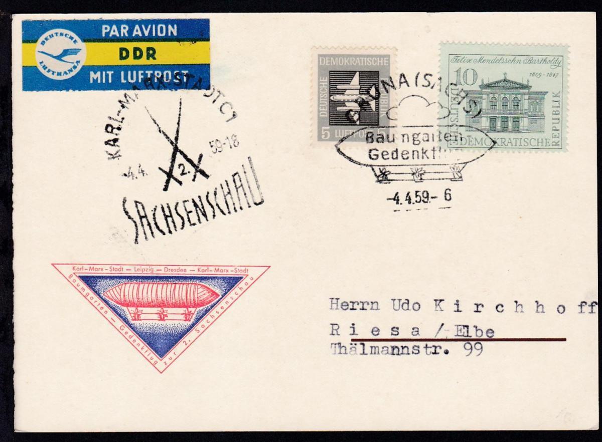 1959 Flugpostkarte Baumgarten-Gedenkflug zur 2. Sachsenschau