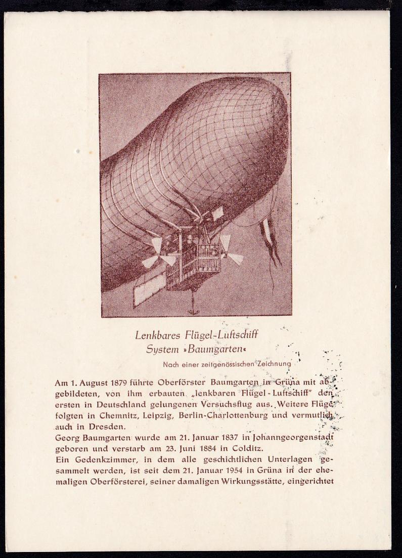 1959 Flugpostkarte Baumgarten-Gedenkflug zur 2. Sachsenschau 1