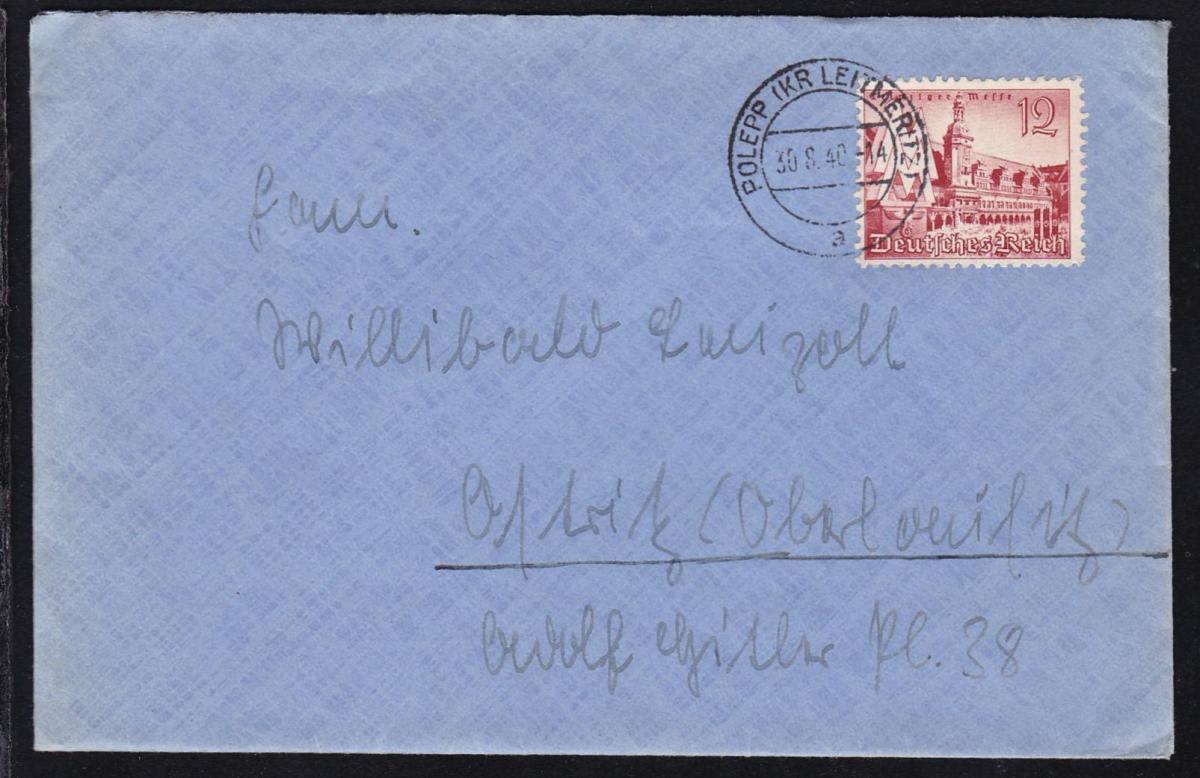 Polepp OSt. POLEPP (KR LEITMERITZ) a 30.8.40 auf Brief nach Ostritz