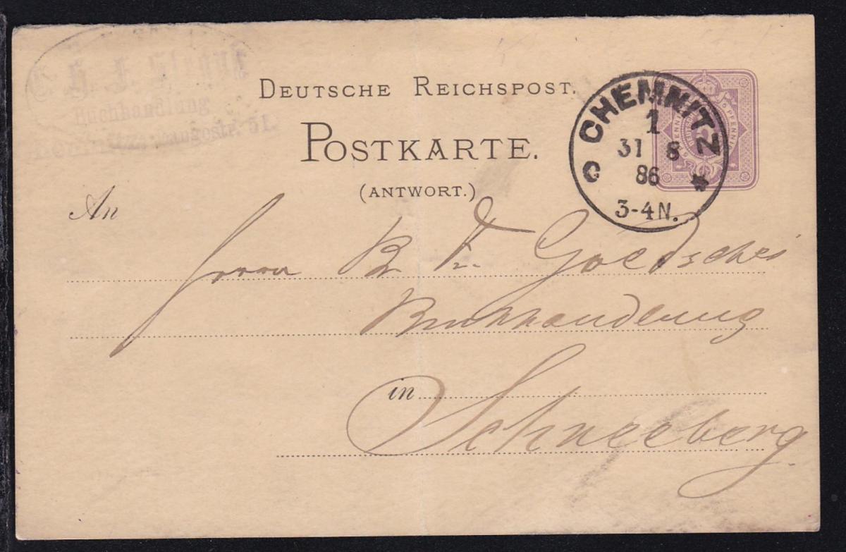 Chemnitz Klaucke-Stempel CHEMNITZ 1 c* 31.8.86 auf Ganzsache als Firmenpostkarte