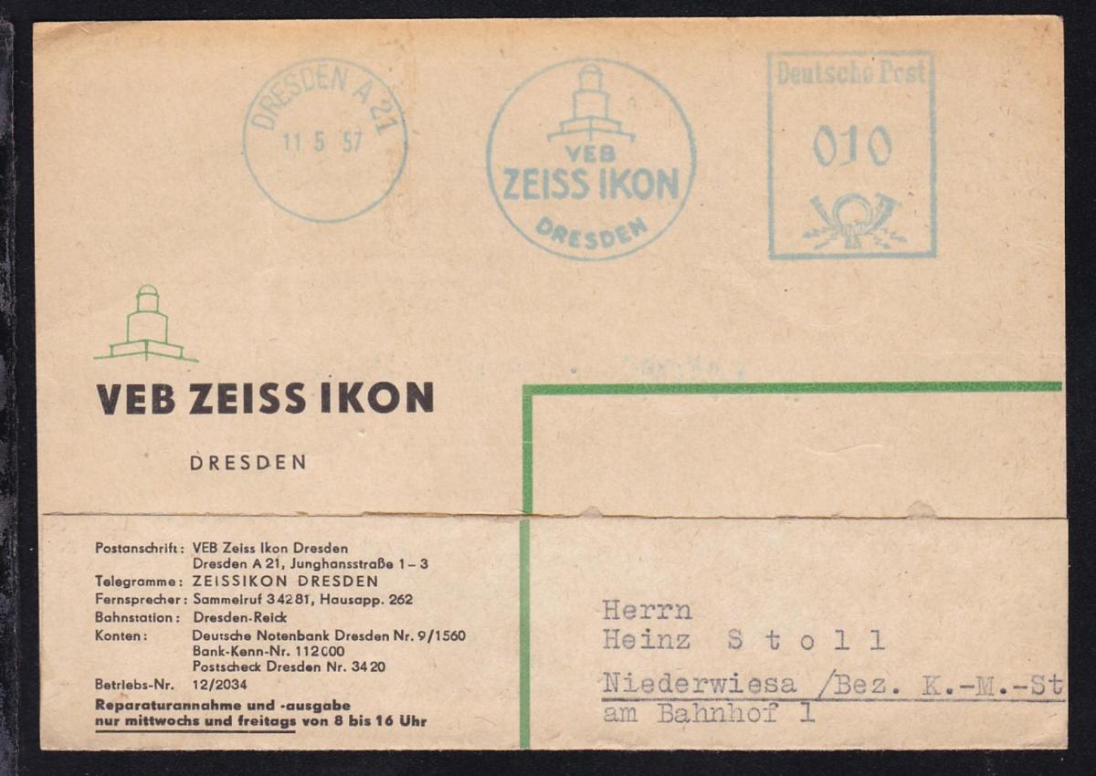 Dresden Absenderfreistempel DRESDEN A 21 11.5.57 VEB ZEISS IKON DRESDEN