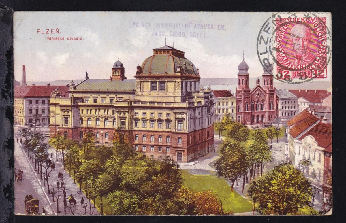 Kaiser Franz Joseph 12 H. bildseitig auf CAK (Pilsen) ab Pilsen 15.I.12 an Prinz