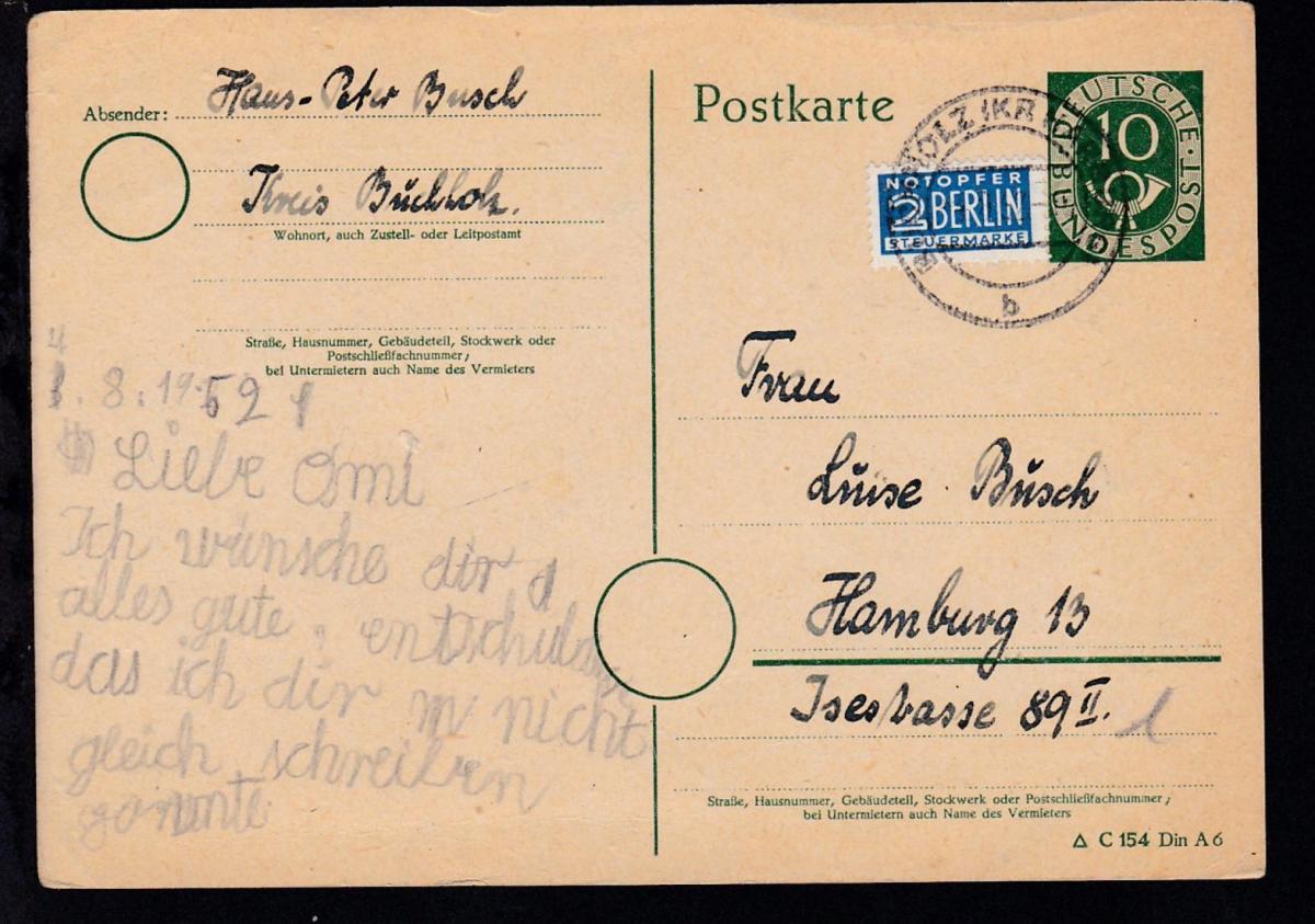 Posthorn 10 Pfg. ab Buchholz (Kr. Harburg) 4.8.52 nach Hamburg