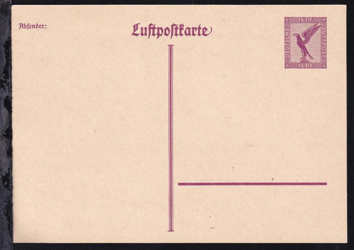 Luftpostkarte Steinadler 15 Pfg.