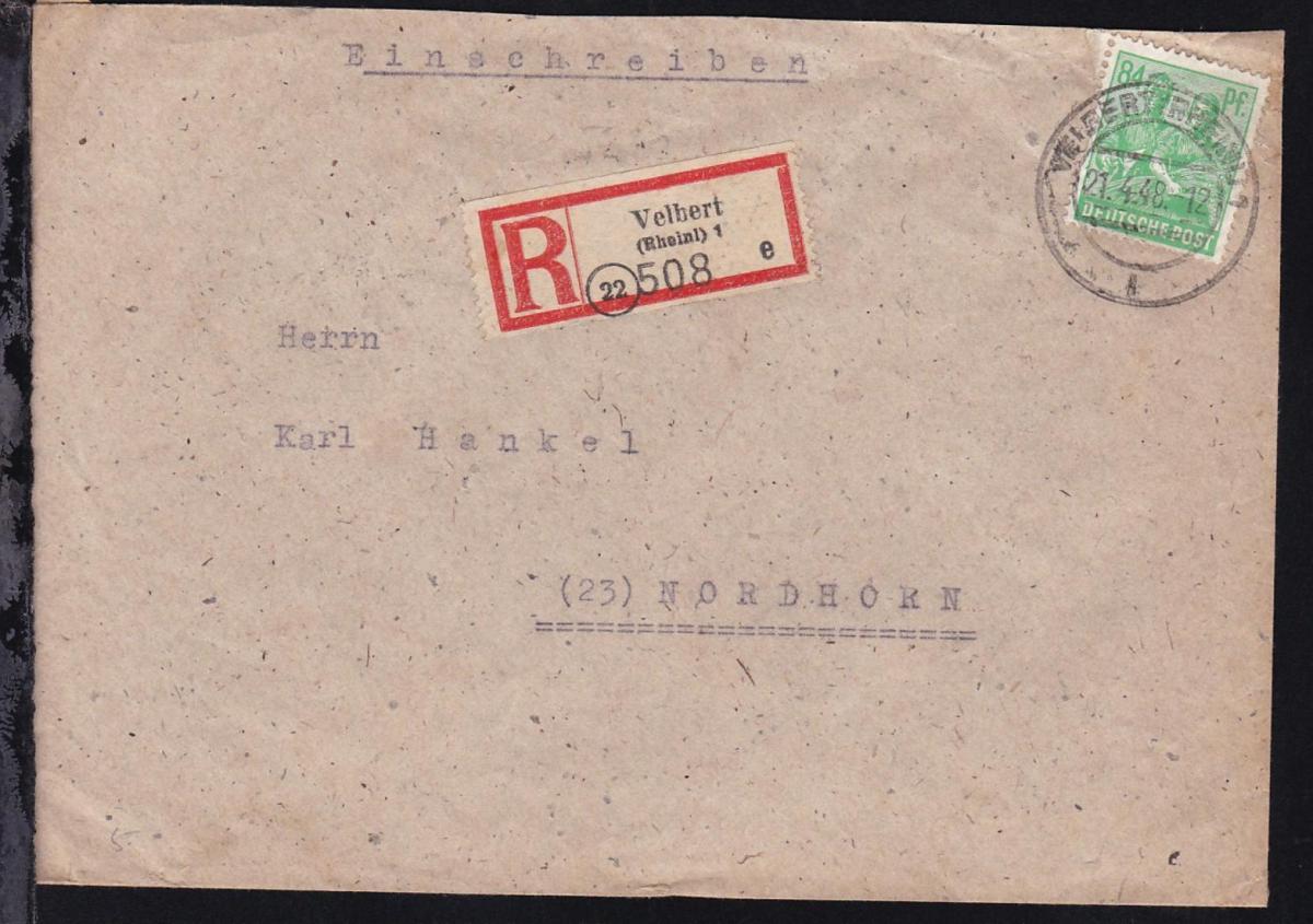 Arbeiter 84 Pfg. auf R-Brief ab Velbert (Rheinl) 21.4.48 nach Nordhorn
