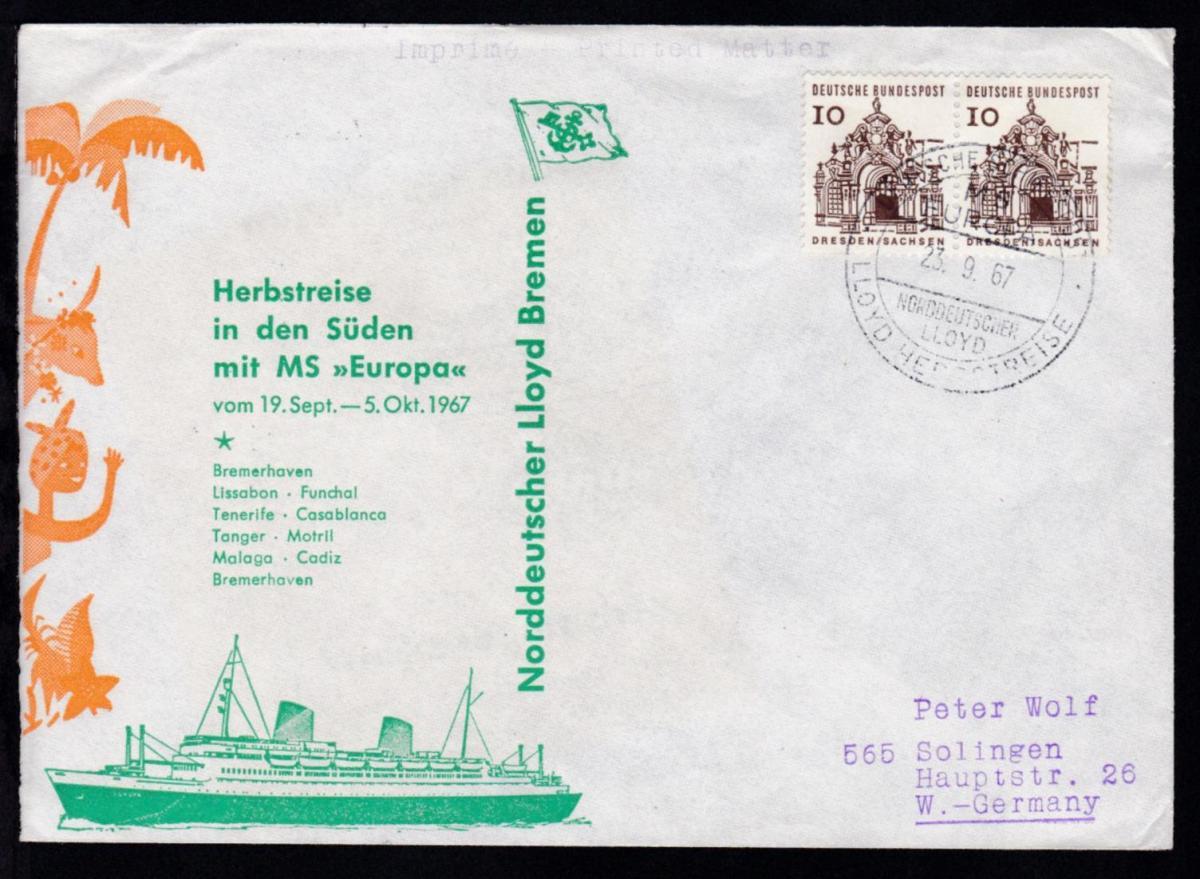 DEUTSCHE SCHIFFSPOST MS EUROPA NORDDEUTSCHER LLOYD LLOYD HERBSTREISE 23.9.67