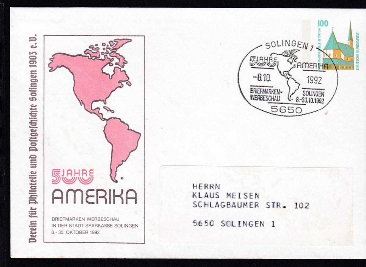 Sehenswürdigkeiten 100 Pfg. 500 Jahre Amerika Briefmarken-Werbeschau Solingen