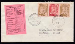 VARBERG-GRENA EUROPAFERGEN 13.2.71 auf Brief mit Retouraufkleber