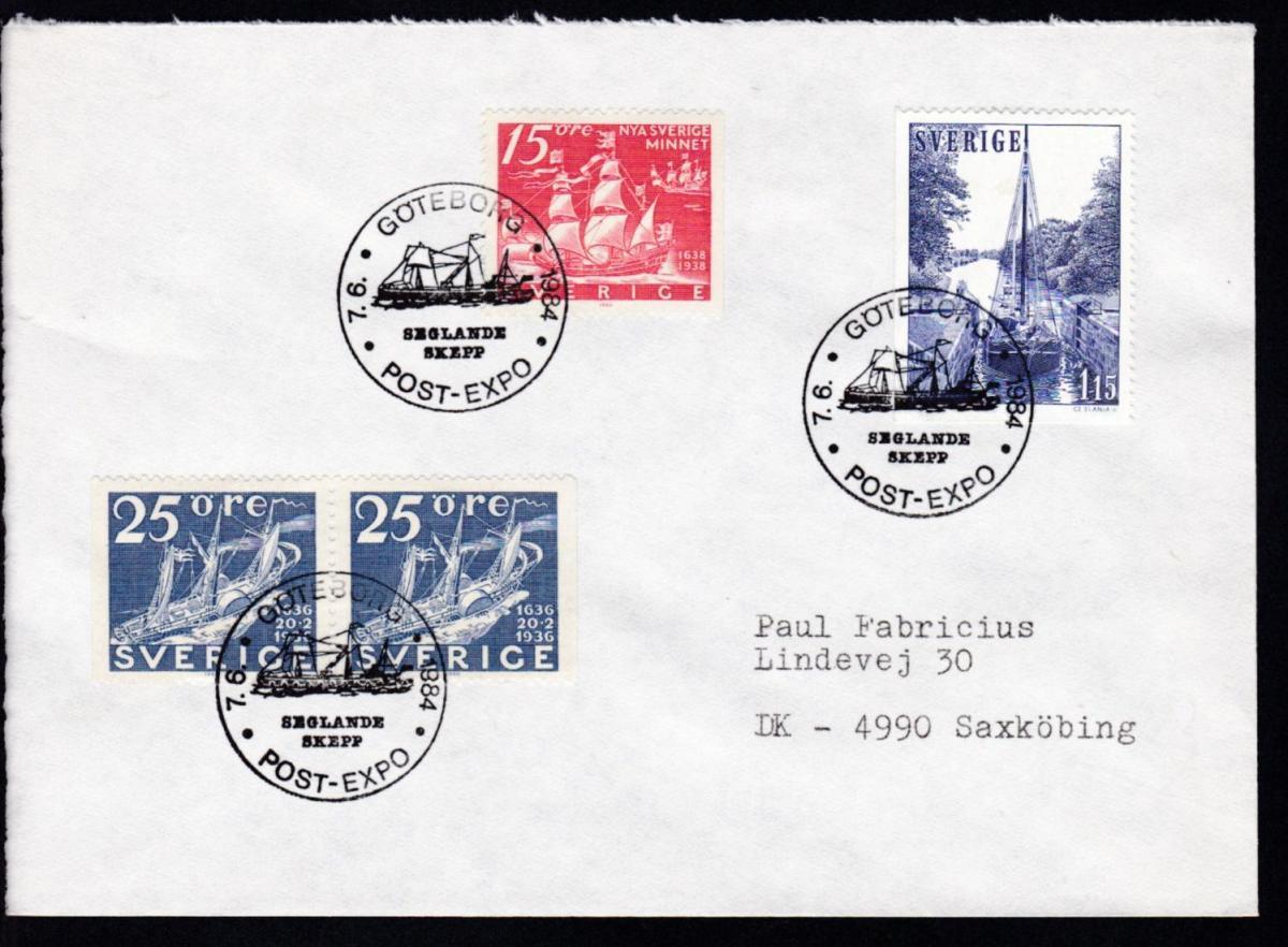 GÖTEBORG POST-EXPO SEGLANDE SKEPP 7.6.1984 auf Brief 0