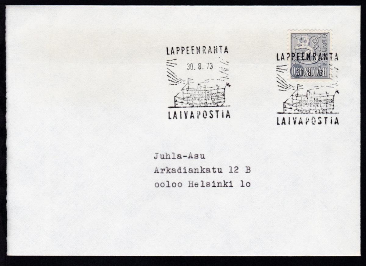 LAPPEENRANTA LAIVAPOSTIA 30.8.73 auf Brief 0