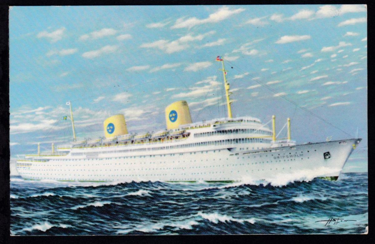 NEW YORK-GÖTEBORG SVENSKA AMERIKA LINIEN M/S GRIPSHOLM FÖRSTA HEMRESAN 29.5.1957 1