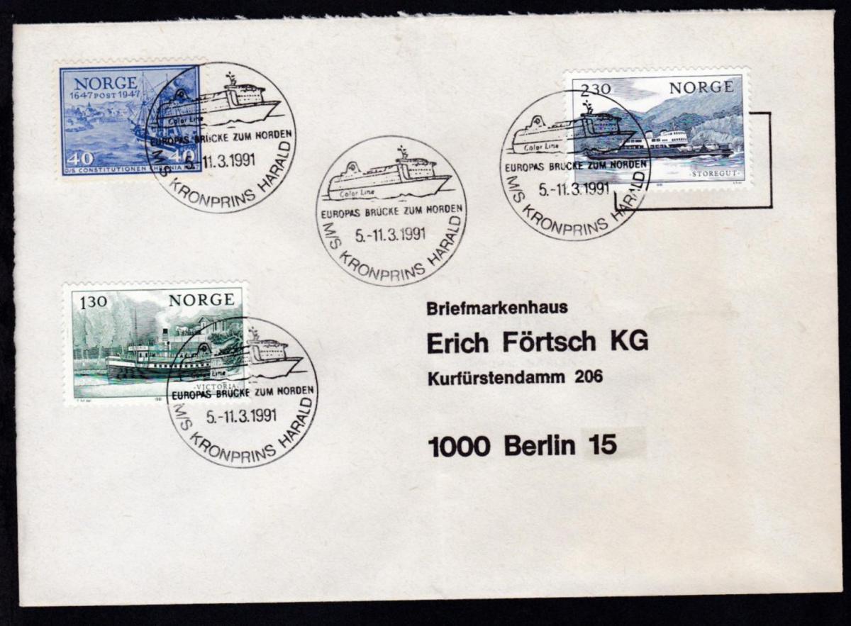 MS KRONPRINS HARALD EUROPAS BRÜCKE ZUM NORDEN 5.-11.3.1991 auf Brief, 0