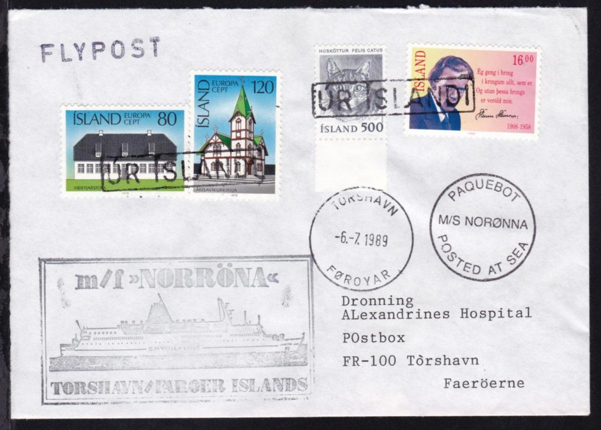OSt. Torshavn Föroyar 6.7.1989 + R1 UR ISLANDI + Cachets MF Norönna auf Brief 0