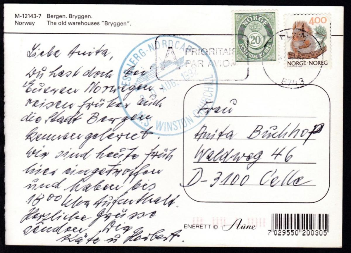 K1 ESBJERG-NORDCAP M.S. WINSTON CHURCHILL 30 AUG. 1992 auf CAK 0