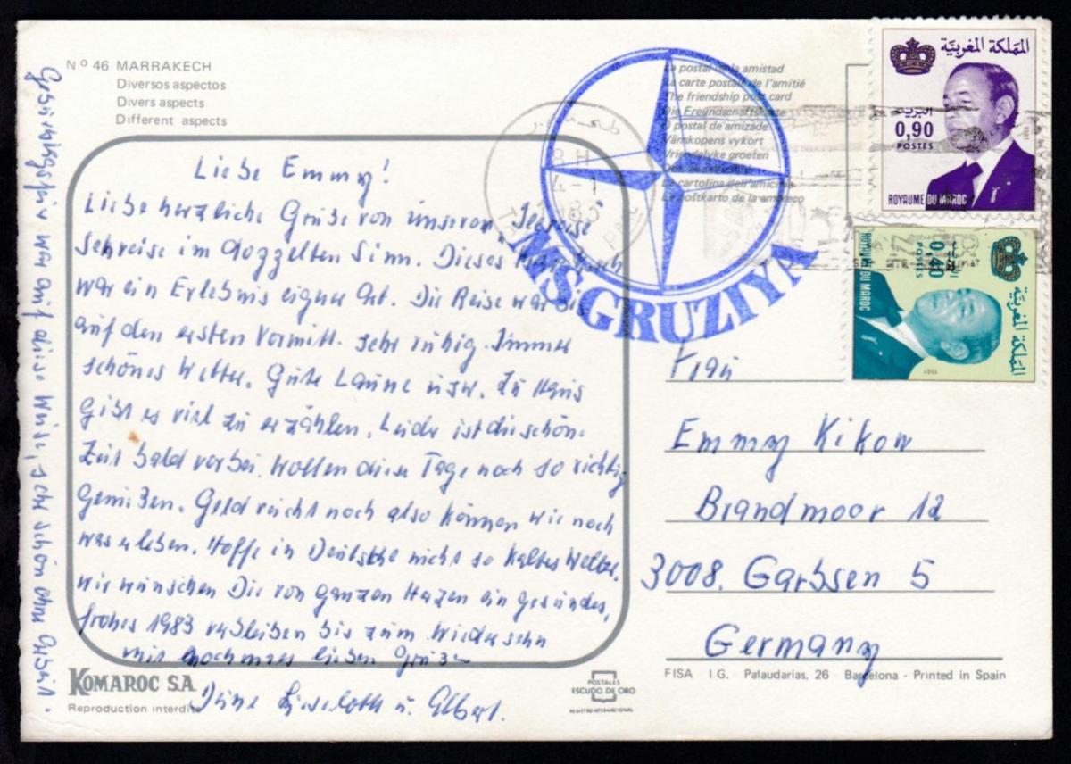 K1 MS GRUZIYA auf CAK (Marrakech) ab Tanger 4.1.1983 nach Garbsen 0