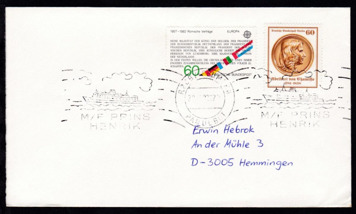 RÖDBY-FEHMERN PAQUEBOT 29.7.82 M/F PRINS HENRIK auf Brief 0
