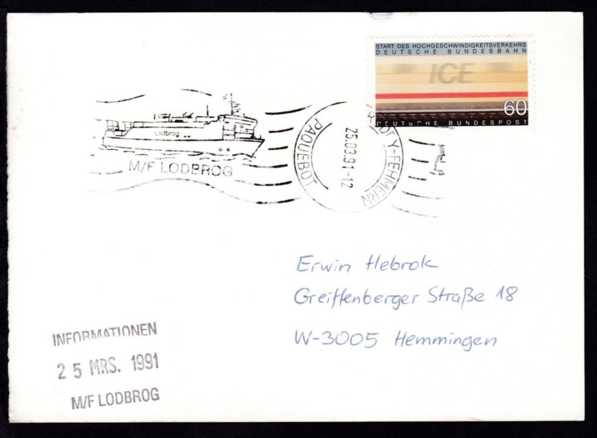 RÖDBY-FEHMERN PAQUEBOT 25.03.91 M/F LODBROG auf Postkarte 0