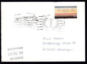 RÖDBY-FEHMERN PAQUEBOT 25.03.91 M/F LODBROG auf Postkarte