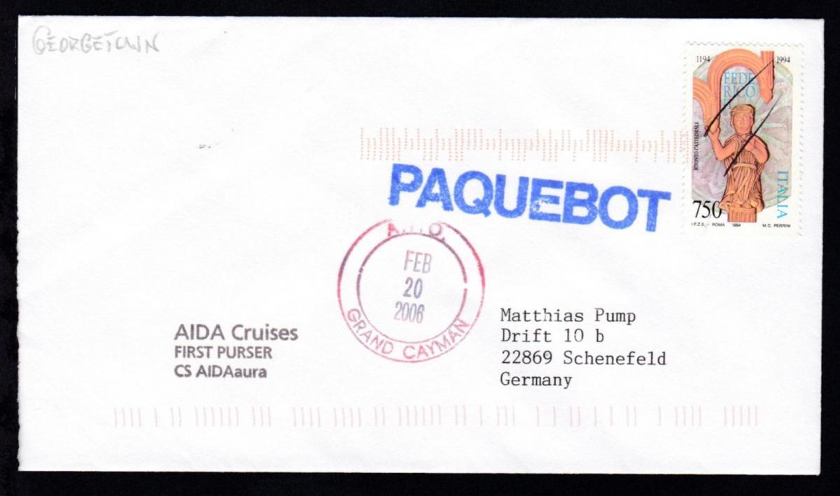 OSt. Grand Cayman FEB 20 2006 + R1 PAQUEBOT auf Brief vom Clubschiff Aida aura 0