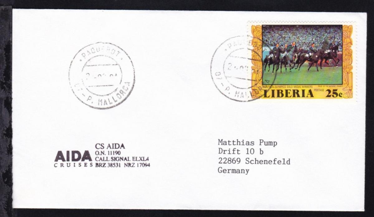 PAQUEBOT 07-P. MALLORCA 24.09.01 auf Brief vom Clubschiff Aida 0