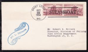 SAINT LOUIS MO. OCT 22 1954 STEAMBOAT + Cachet ST. L. ZEPHIR auf Brief
