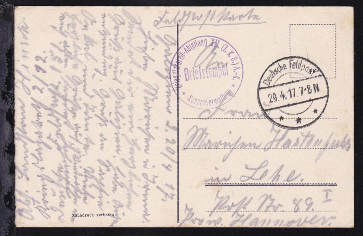 Deutsche Feldpost *** 20.4.17 + K1 Briefstempel Kriegslazarett-Abteilung XII. 0
