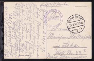 Deutsche Feldpost *** 20.4.17 + K1 Briefstempel Kriegslazarett-Abteilung XII.