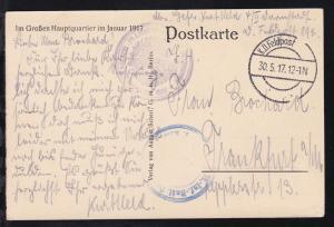 K.D. Feldpost 30.5.17 + Adlerstempel Der KAIS. DEUTSCHE POLIZEIPRÄSIDENT