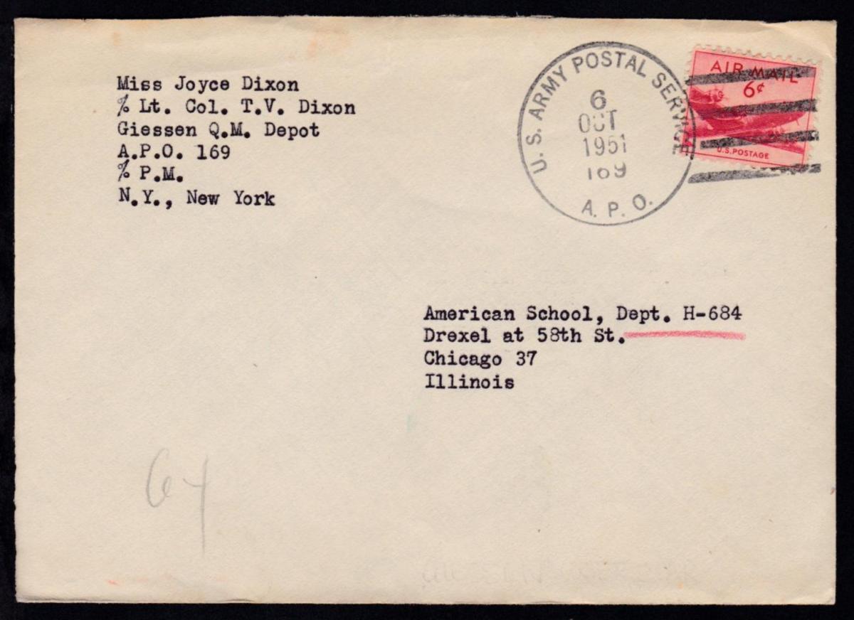 U.S. ARMY POSTAL SERVICE 169 6 OCT 1951 auf Brief nach Chicago 0