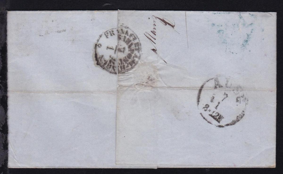 FRANKFURT A.M.-BINGEN BAHNPOST 7.1. als Transitstempel rs auf Brief ab Mainz 1