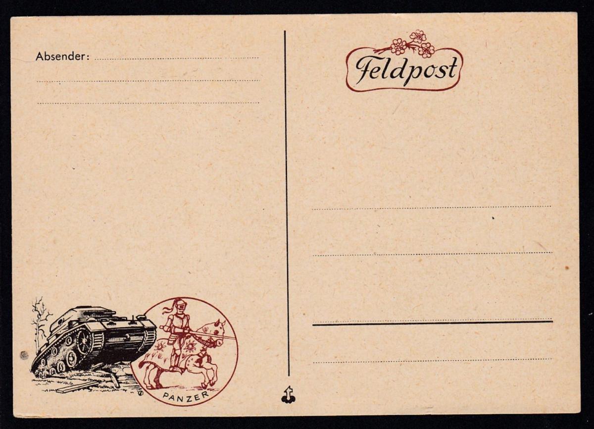 illustrierte Feldpostkarte Panzer ungebraucht