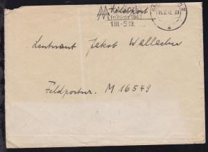 Maschinenstempel Saarbrücken 11.2.42 auf Feldpostbrief an M 16549