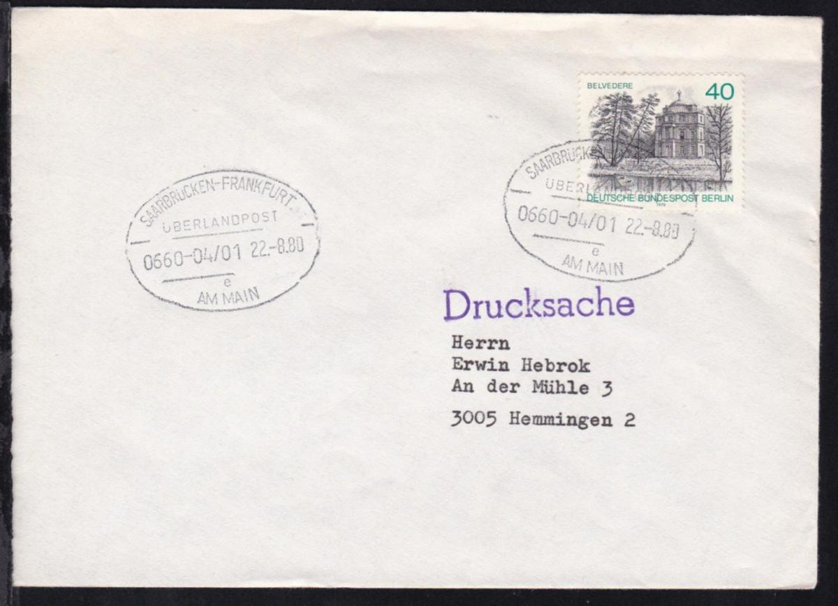 SAARBRÜCKEN-FRANKFURT AM MAIN ÜBERLANDPOST e 0660-04/01 22.8.80 auf Brief
