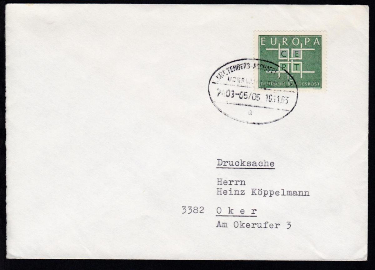 MILTENBERG-ASCHAFFENBURG ÜBERLANDPOST a 7403-05/05 165.11.63 auf Brief