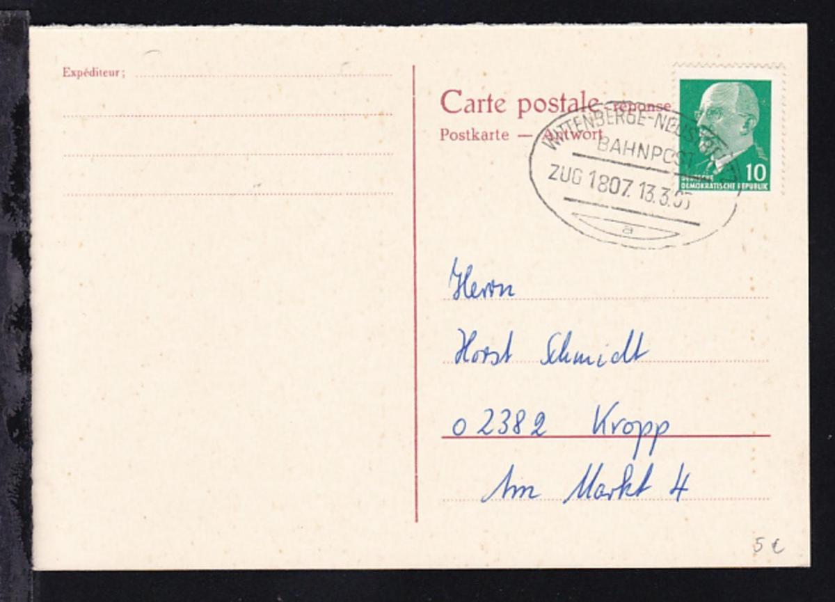 WITTENBERGE-NEUSTRELITZ BAHNPOST a ZUG 1807 13.3.65 auf Postkarte