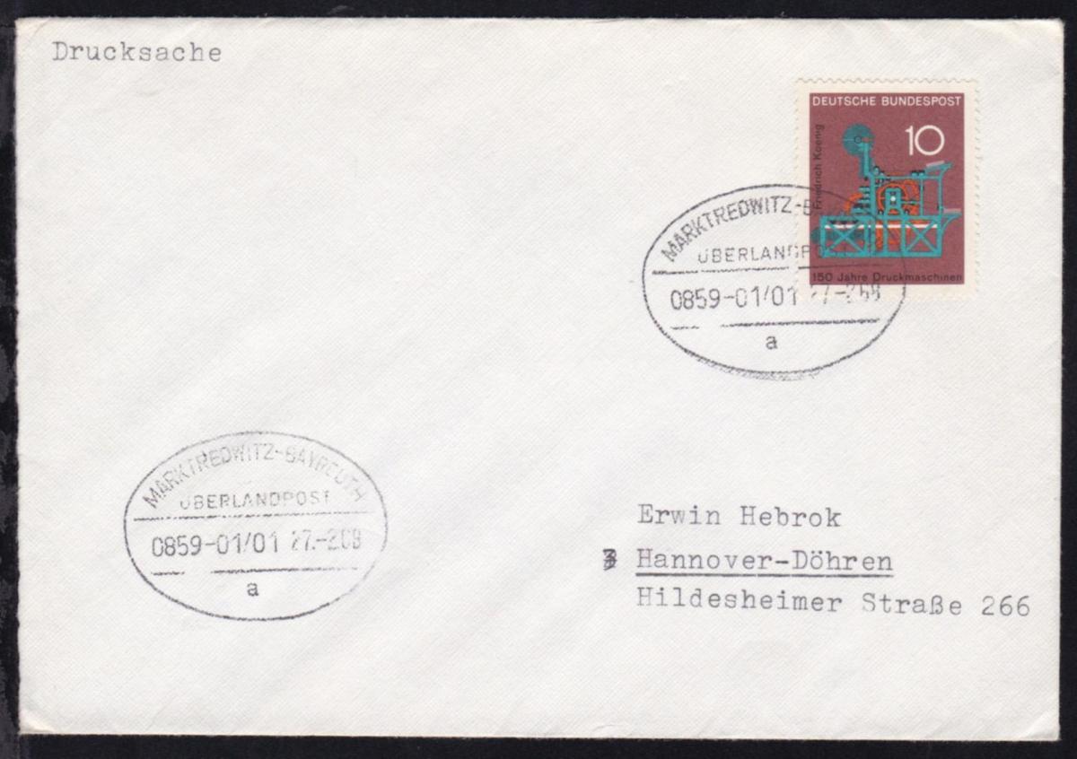 MARKTREDWITZ-BAYREUTH ÜBERLANDPOST a 0859-01/01 17.2.68 auf Brief