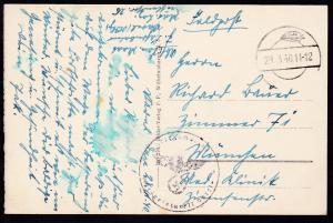 Tarnstempel 29.3.40 + K1 Kriegsmarine Marinelazarett Varel auf Feldpost-AK