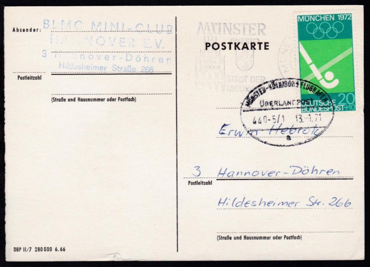 MÜNSTER-KÖLN/BONN FLUGHAFEN ÜBERLANDPOST a 440-5/1 13.1.71 auf CAK